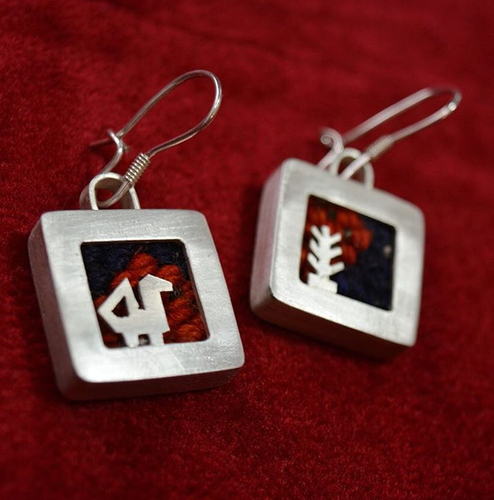 Persian Earrings-Handmade Silver Drop Earrings Embellished with Kilim-: Persian Jewelry-Afra Art Gallery