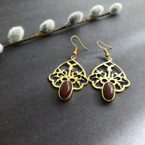 Persian Earrings-Handmade Earrings with Persian Rug Pattern and Gemstone-: Persian Jewelry-Afra Art Gallery