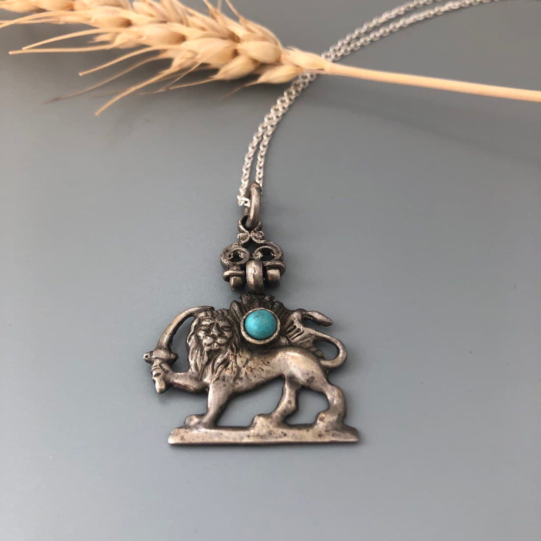 Handmade Lion and Sun Silver Pendant with Turqoise