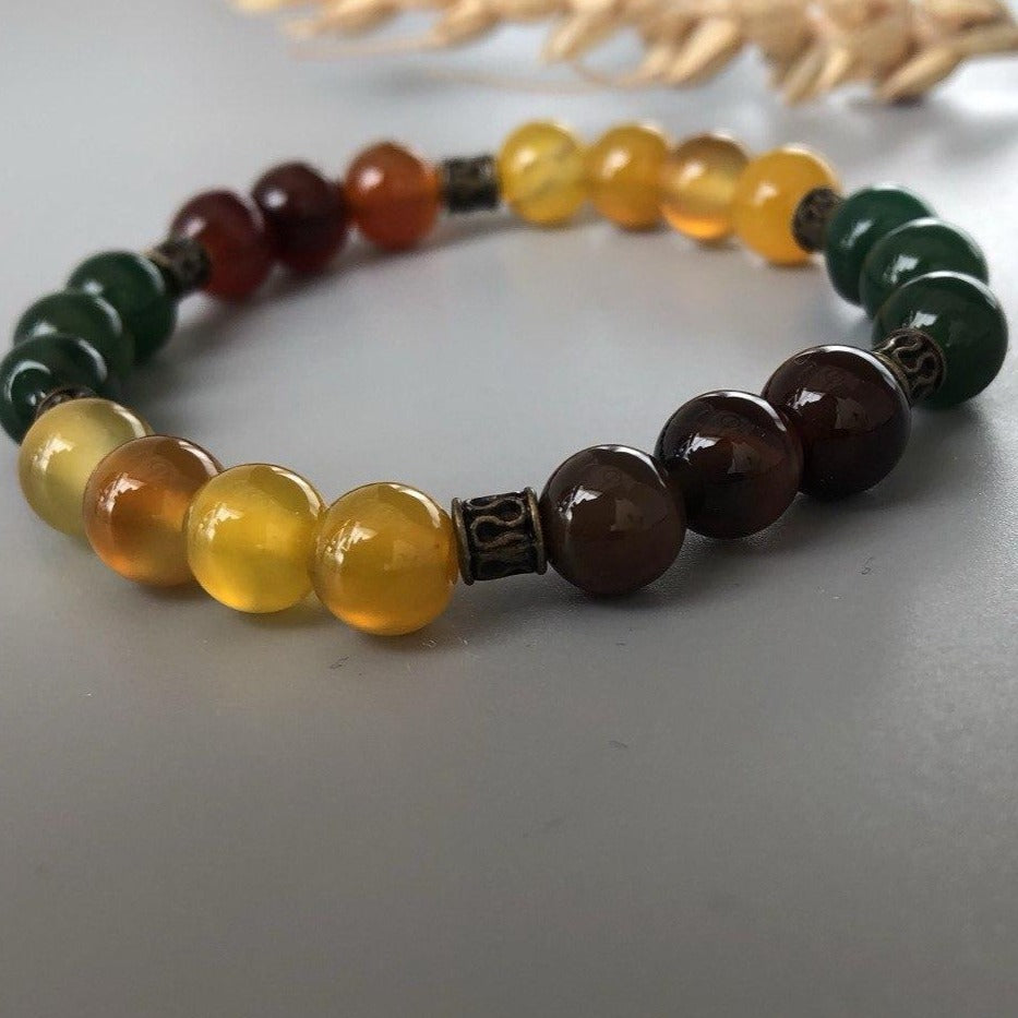 Stretch Bracelet with Natural Colorful Agates