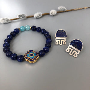 Handmade Beaded Bracelets with Lapis Lazuli and Enameled Element
