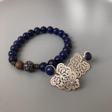 Load image into Gallery viewer, Handmade Beaded Bracelets with Lapis Lazuli and Enameled Element