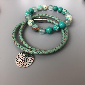 Handmade Beaded Cuff Bracelets with Turquoise