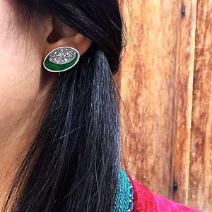 Persian Earrings-Persian Ghalamzni Stud Earrings with Green Enamel-: Persian Jewelry-Afra Art Gallery