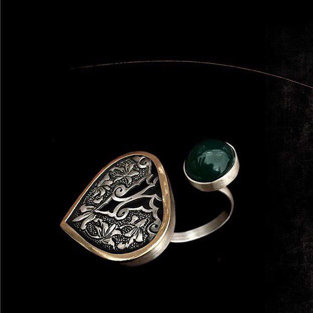 Persian Rings-Persian Ghalamzani Ring with Green Natural Agate: Persian Jewelry-Afra Art Gallery