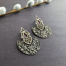 Load image into Gallery viewer, Persian Earrings-Handmade, Flowers Engraved Silver and Wine Red Enamel Dangle Earrings-: Persian Jewelry-Afra Art Gallery