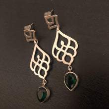 Load image into Gallery viewer, Persian Earrings-Persian Drop Earrings with Green Gemstone-: Persian Jewelry-Afra Art Gallery