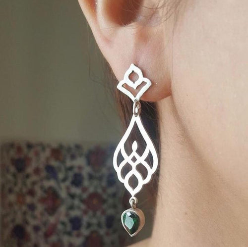 Persian Earrings-Persian Drop Earrings with Green Gemstone-: Persian Jewelry-Afra Art Gallery