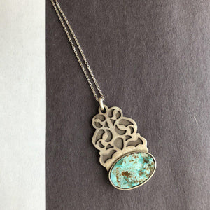 Persian Necklaces-Persian Handmade Silver Pendant with Turquoise:Persian Jewelry-Afra Art Gallery