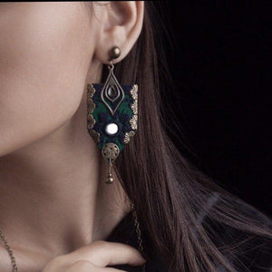 Persian Embroidery Persian Baluchdozi Earrings in Green and Black: Persian Jewelry-Afra Art Gallery