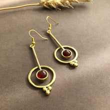 Load image into Gallery viewer, Persian Earrings-Persian Drop Earrings with Agate-: Persian Jewelry-Afra Art Gallery