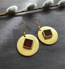 Load image into Gallery viewer, Persian Minimal Jewelry-Persian Brass Earrings with Agate:Persian Jewelry-Afra Art Gallery