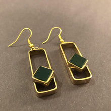 Load image into Gallery viewer, Persian Earrings-Handmade Brass Rectangle Earrings with Agate-: Persian Jewelry-Afra Art Gallery