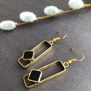 Persian Earrings-Handmade Brass Rectangle Earrings with Agate-: Persian Jewelry-Afra Art Gallery