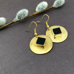 Persian Minimal Jewelry-Persian Brass Earrings with Agate:Persian Jewelry-Afra Art Gallery