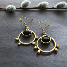 Load image into Gallery viewer, Persian Minimal Jewelry-Persian Handmade Earrings with Agate:Persian Jewelry-Afra Art Gallery