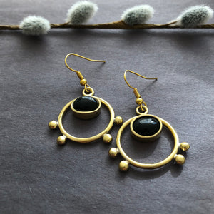 Persian Minimal Jewelry-Persian Handmade Earrings with Agate:Persian Jewelry-Afra Art Gallery