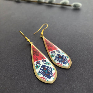 Persian Earrings-Brass Persian Earrings with Kashi Pattern-: Persian Jewelry-Afra Art Gallery