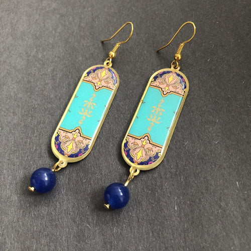 Persian Earrings-Persian Earrings with Traditional Pattern-: Persian Jewelry-Afra Art Gallery