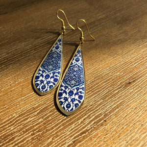 Persian Earrings-Brass Persian Earrings with Kashi Pattern in Blue-: Persian Jewelry-Afra Art Gallery