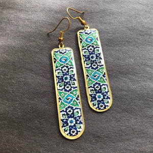 Persian Earrings-Brass Earrings with Persian Kashi Kari Motifs-: Persian Jewelry-Afra Art Gallery