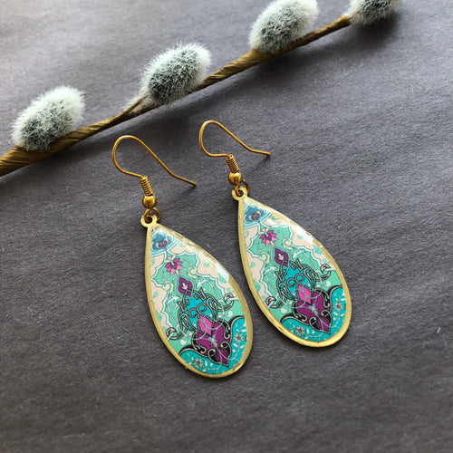 Persian Earrings-Brass Drop Persian Earrings with Kashi Kari Pattern-: Persian Jewelry-Afra Art Gallery