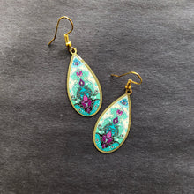 Load image into Gallery viewer, Persian Earrings-Brass Drop Persian Earrings with Kashi Kari Pattern-: Persian Jewelry-Afra Art Gallery