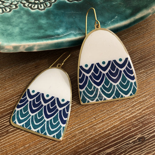 Persian Earrings-Brass Earrings in Blue Persian-: Persian Jewelry-Afra Art Gallery