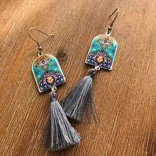 Load image into Gallery viewer, Persian Earrings- Big Persian Earrings with Grey Tassel-:  Persian Jewelry-Afra Art Gallery