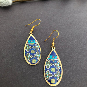 Persian Earrings-Brass Persian Earrings with Kashi Kari Pattern in Blue-: Persian Jewelry-Afra Art Gallery