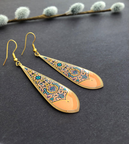 Persian Earrings-Persian Earrings in Brass with Kashi Pattern-: Persian Jewelry-Afra Art Gallery