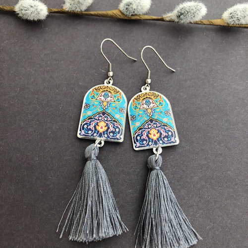 Persian Earrings-Big Persian Earrings: Persian Jewelry-Afra Art Gallery