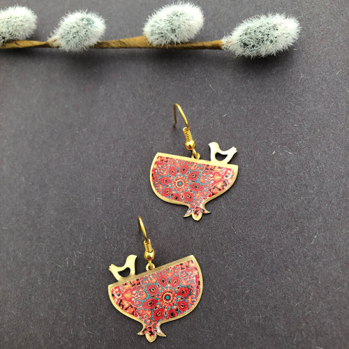 Persian Earrings-Handmade Pomegranate Brass Earring-: Persian Jewelry-Afra Art Gallery