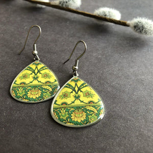 Persian Earrings-Persian Earrings with Traditional Pattern in Yellow-: Persian Jewelry-Afra Art Gallery