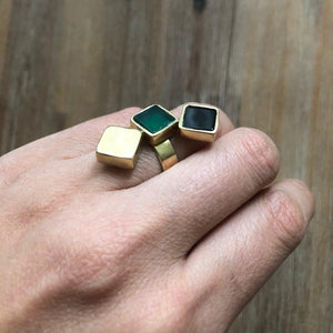 Persian Rings-Handmade Brass and Gemstone Ring: Persian Jewelry-Afra Art Gallery