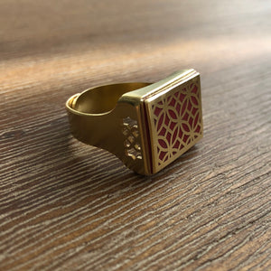 Persian Rings-Handmade Brass Ring with Persian Pattern in Red: Persian Jewelry-Afra Art Gallery