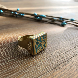 Persian Rings-Brass Ring with Persian Pattern in Blue: Persian Jewelry-Afra Art Gallery