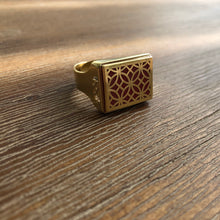 Load image into Gallery viewer, Persian Rings-Handmade Brass Ring with Persian Pattern in Red: Persian Jewelry-Afra Art Gallery