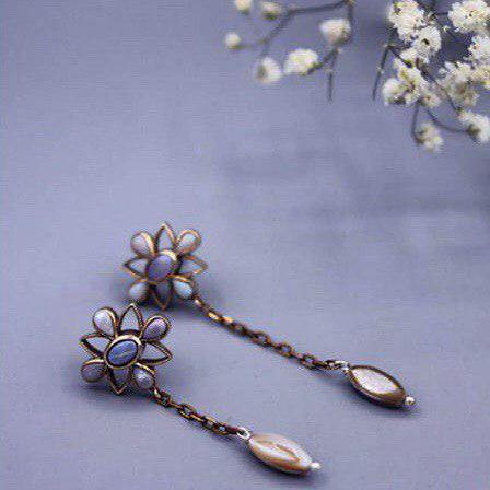 Persian Earrings-Handmade Silver Drop Earrings with Rose Gold Chain-: Persian Jewelry-Afra Art Gallery