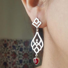 Load image into Gallery viewer, Persian Earrings-Persian Drop Earrings with Red Gemstone-: Persian Jewelry-Afra Art Gallery