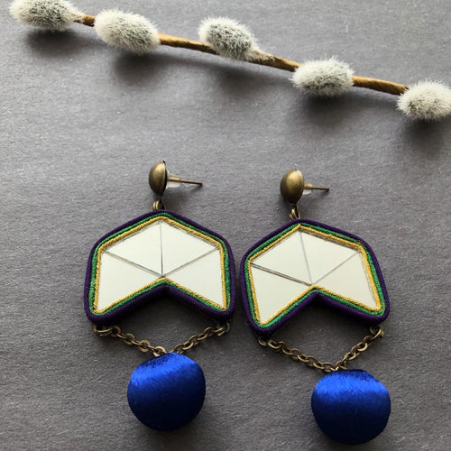 Persian Earrings-Persian Mirror Mosaic Earrings with Silk Drop Ball-: Persian Jewelry-Afra Art Gallery