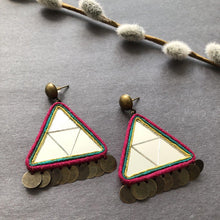 Load image into Gallery viewer, Persian Earrings-Persian Mirror Mosaic Earrings-: Persian Jewelry-Afra Art Gallery