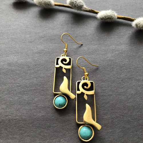 Persian Earrings-Persian Dangle Earrings with Turquoise and Bird-: Persian Jewelry-Afra Art Gallery