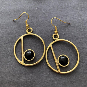 Persian Minimal Jewelry-Circle Earrings With Agate:Persian Jewelry-Afra Art Gallery