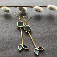 Load image into Gallery viewer, Persian Earrings-Persian Earrings With Square Agate-: Persian Jewelry-Afra Art Gallery
