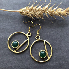 Load image into Gallery viewer, Persian Minimal Jewelry-Circle Earrings With Agate:Persian Jewelry-Afra Art Gallery