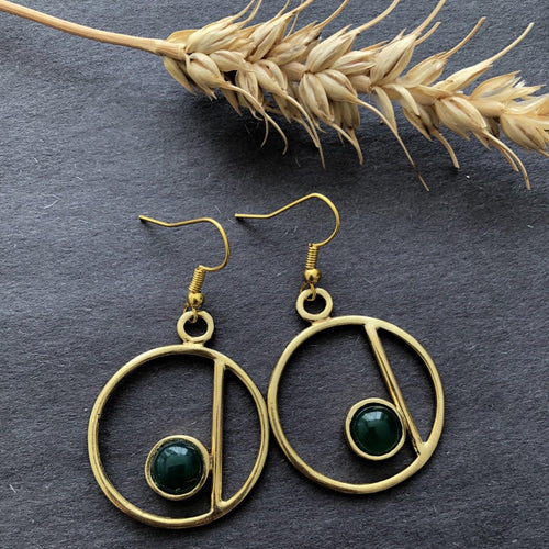Persian Earrings-Circle Earrings With Agate-: Persian Jewelry-Afra Art Gallery