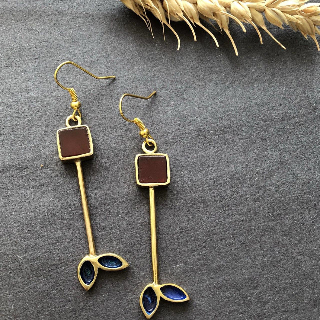 Persian Earrings-Persian Earrings With Square Agate-: Persian Jewelry-Afra Art Gallery