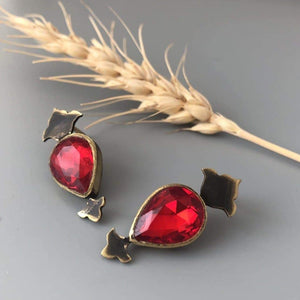 Handmade Brass Earring with Shiny Gemstone