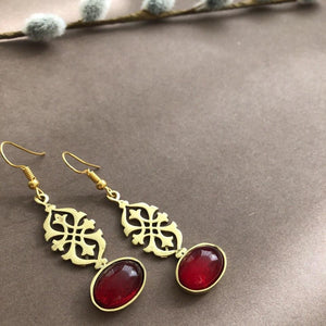 Persian Earrings-Handmade Iranian Dangle Earrings with Red Agate-: Persian Jewelry-Afra Art Gallery